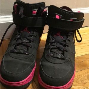 Black and pink Jordan's. Wore once!